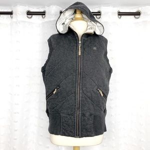 Nike gray quilted zip front hooded vest XL